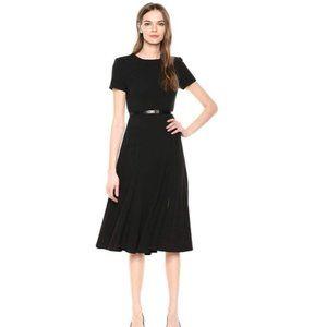 Short Sleeve Belted Midi Dress Black Calvin Klein
